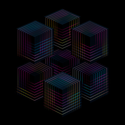 Quantum Computing「Glowing cubes」:スマホ壁紙(18)