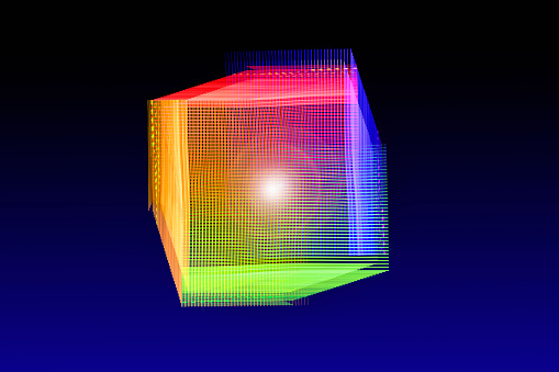 Virtual Reality「Glowing Cube Shaped Light Trail Form」:スマホ壁紙(11)