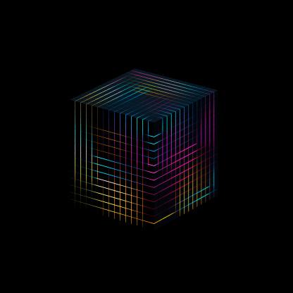Quantum Computing「Glowing cube」:スマホ壁紙(1)