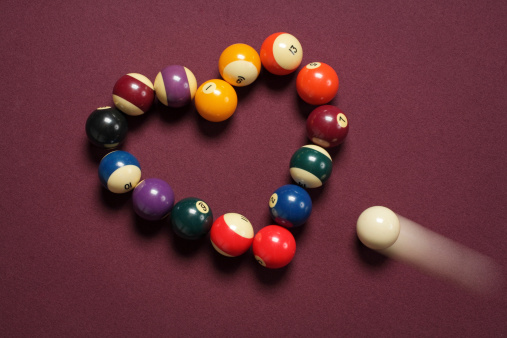 Distraught「Breaking heart concept using billiard balls」:スマホ壁紙(7)