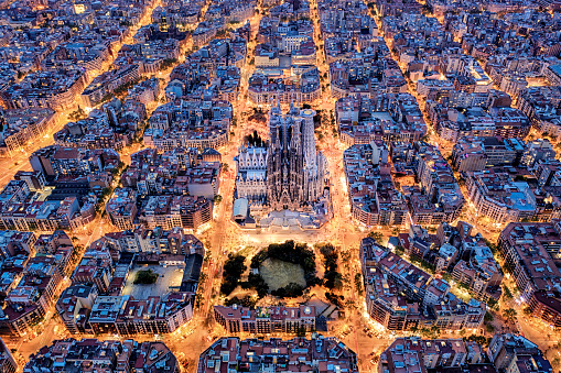 Barcelona - Spain「Barcelona aerial view from the high」:スマホ壁紙(14)