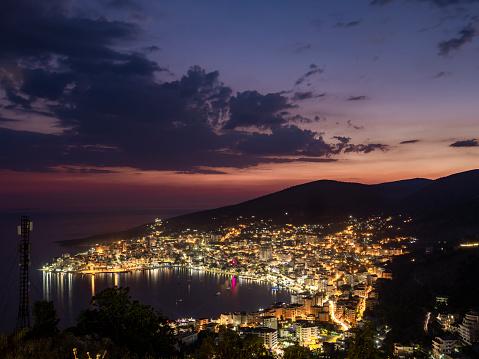 Albania「Saranda city in Albania night lights view from above with beautiful sky」:スマホ壁紙(16)