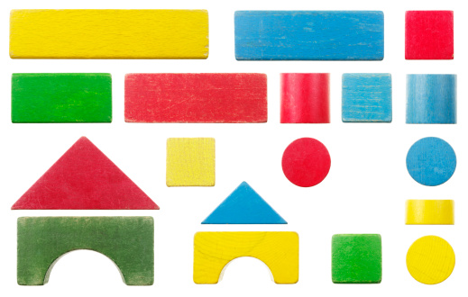 Rectangle「Old Wooden Toy Building Block Set Isolated On White」:スマホ壁紙(19)