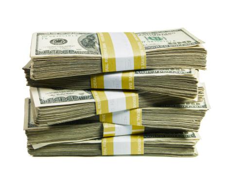 American One Hundred Dollar Bill「A stack of bundled hundred US dollar bills」:スマホ壁紙(1)