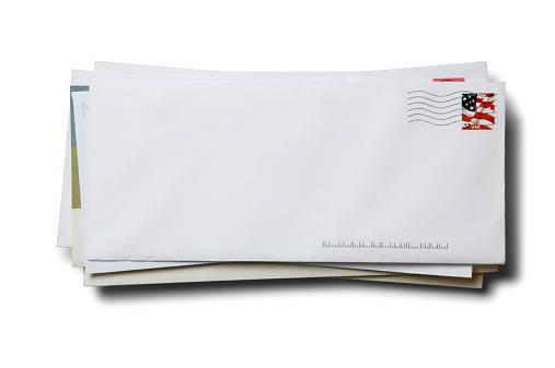 Heap「Stack of business envelopes with cancelled stamp on white background」:スマホ壁紙(10)