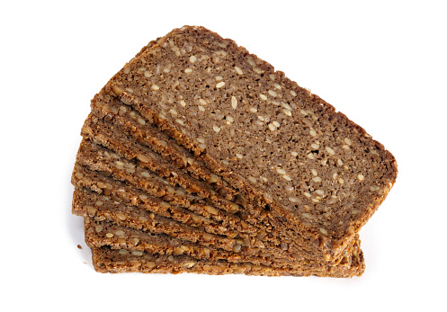 Round Loaf「Slices of Rye Bread on white background」:スマホ壁紙(16)