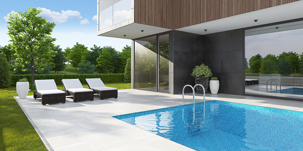 Standing Water「Luxurious country side villa with swimming pool and trees in background at summer morning scene」:スマホ壁紙(10)