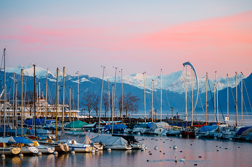 Sailboat「Port of Ouchy, Lausanne, Switzerland」:スマホ壁紙(8)