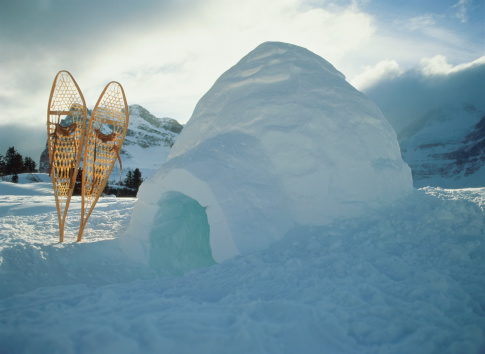 Igloo「Igloo with snow shoes wedged upright in the snow beside it」:スマホ壁紙(3)