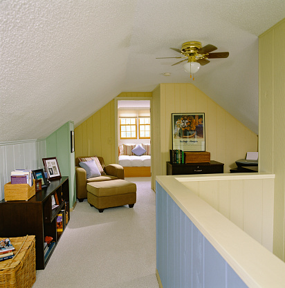 Ceiling Fan「Attic Room with Multicolored Paneling」:スマホ壁紙(0)