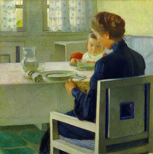 Painted Image「Mother And Child At The Table. Carl Moll」:写真・画像(1)[壁紙.com]