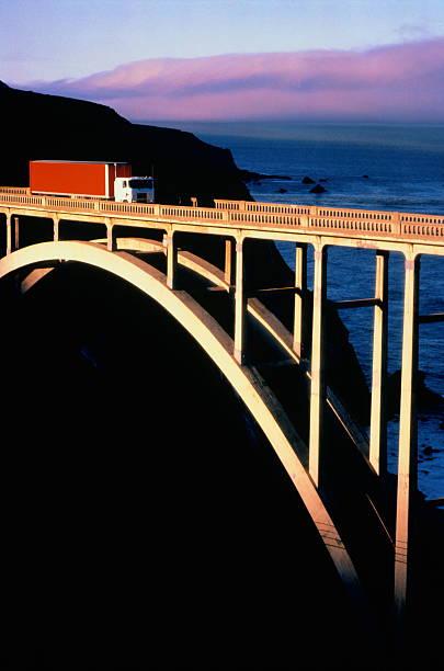 Truck crossing Bigsby Bridge,Big Sur,California,USA:スマホ壁紙(壁紙.com)