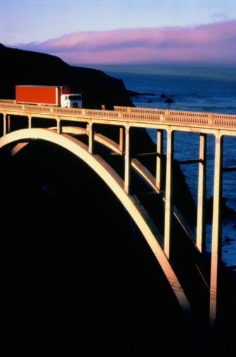 Bixby Creek Bridge「Truck crossing Bigsby Bridge,Big Sur,California,USA」:スマホ壁紙(10)