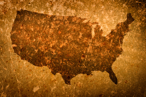 Manuscript「Old grunge map of United States of America」:スマホ壁紙(13)