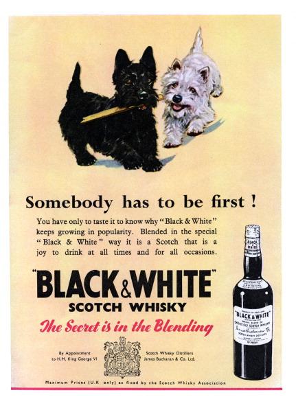 Black And White「Advertisement for Black & White Scotch Whiskey 1950s」:写真・画像(1)[壁紙.com]