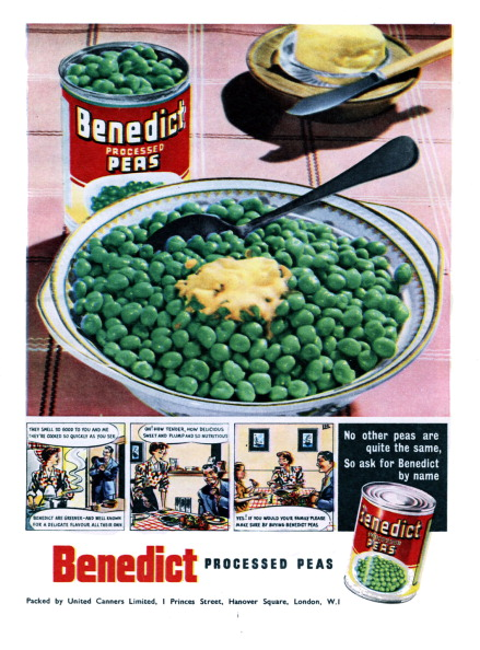 Healthy Eating「Advertisement for Benedict processed peas 1950s」:写真・画像(10)[壁紙.com]