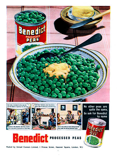 Advertisement for Benedict processed peas 1950s:ニュース(壁紙.com)