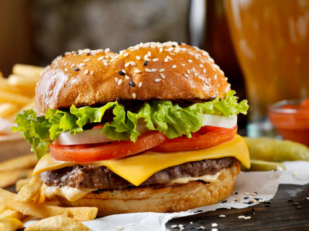 Classic Cheeseburger on a Brioche Bun with Fries and a Milkshake:スマホ壁紙(壁紙.com)
