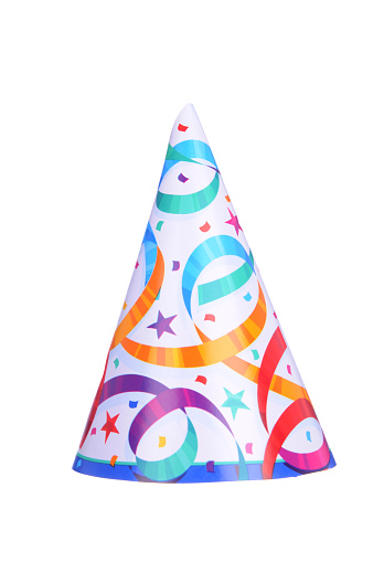 Orange Color「Pointed party hat with colorful streamers on」:スマホ壁紙(5)
