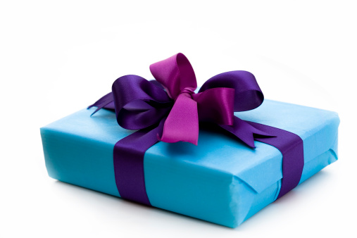 プレゼント「ブルーのギフトボックスとリボン」:スマホ壁紙(17)
