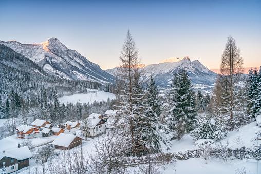 吹雪「冬のパノラマのアルプス、オーストリア」:スマホ壁紙(17)