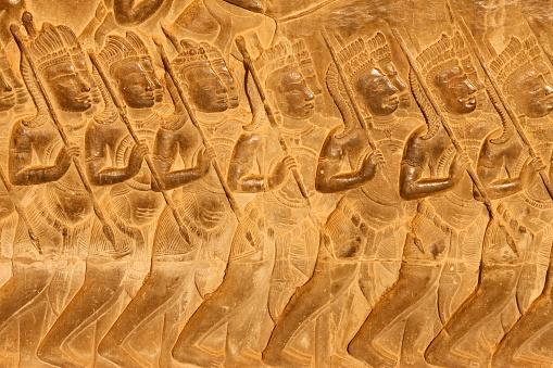 Battle「Angkor Wat. Detail of Relief Sculpture From the Battle of Kurukshetra」:スマホ壁紙(11)