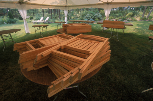 Entertainment Tent「Stack of folded guest chairs under tent prior to a party/wedding, Martha's Vineyard, MA」:スマホ壁紙(4)