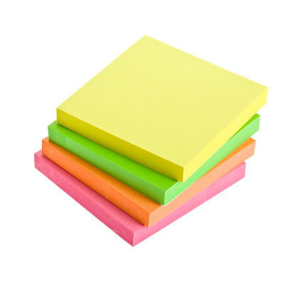 Adhesive Note「A stack of four sticky note pads in different colors」:スマホ壁紙(2)