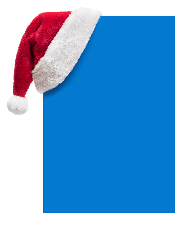 Santa Hat「Santa Hat on a blue blank placard with copy space (isolated on white)」:スマホ壁紙(5)