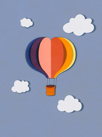 Cartoon「Flying balloon in clouds, paper cutting style」:スマホ壁紙(14)