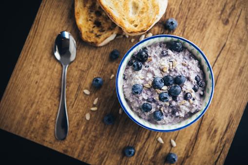 Oats - Food「Healthy Breakfast, Blueberry Overnight Oatmeal」:スマホ壁紙(6)