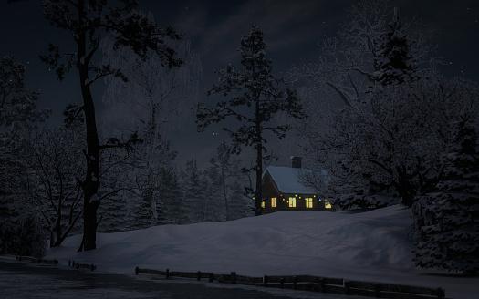 Chalet「Fairy Winter Night Landscape」:スマホ壁紙(17)