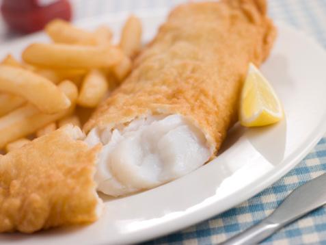 Pollock - Fish「Fish and Chips with Lemon and Tomato Ketchup」:スマホ壁紙(0)