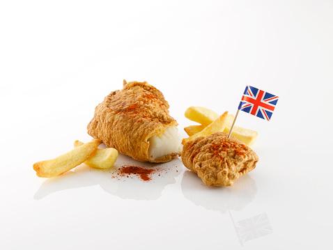 ユニオンジャック「Fish and chips with British flag」:スマホ壁紙(7)