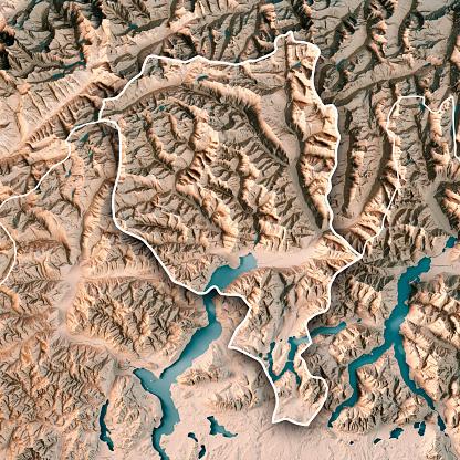 ティチーノ州「ティチーノ州カントン スイス連邦共和国 3 D レンダリング地形図中立的な境界線」:スマホ壁紙(18)