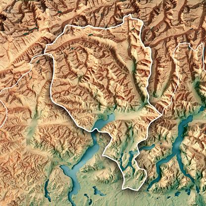 ティチーノ州「ティチーノ州カントン スイス連邦共和国 3 D レンダリング地形マップの枠線」:スマホ壁紙(4)