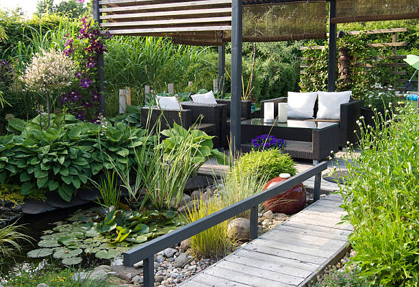 Modern patio garden lounge with a pond and outdoor sofas:スマホ壁紙(壁紙.com)