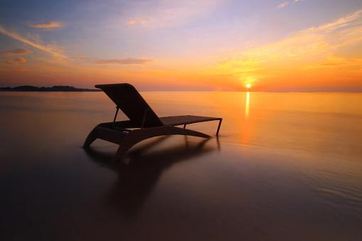 Armchair「Sun lounger on the beach at sunrise, Nusa Dua, Bali」:スマホ壁紙(15)