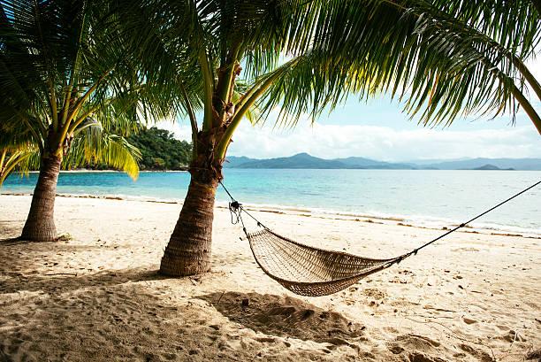 Philippines, Palawan, hammock and palms on a beach near El Nido:スマホ壁紙(壁紙.com)