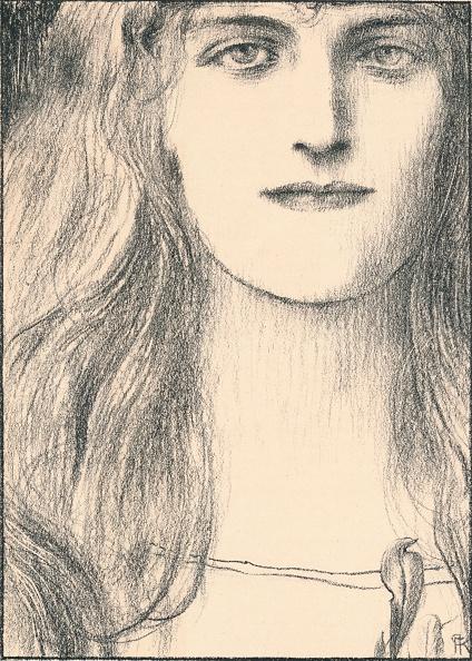 Full Frame「Une tete de face, 1898. Artist: Fernand Khnopff」:写真・画像(1)[壁紙.com]