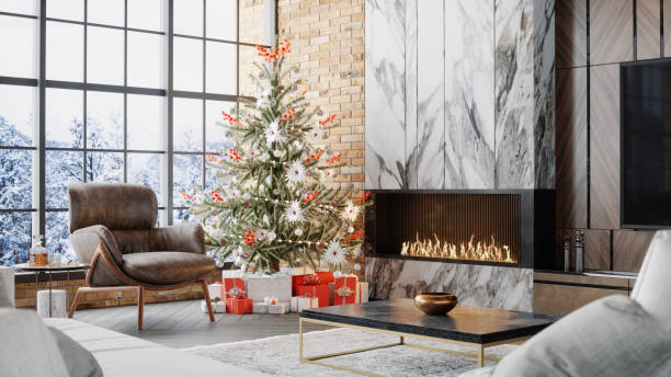 Luxury Living Room With Fireplace And Christmas Decoration:スマホ壁紙(壁紙.com)
