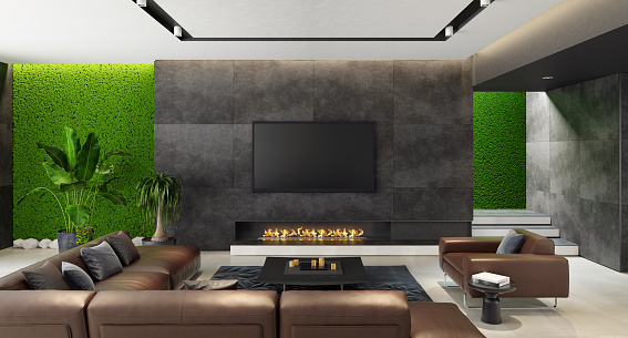 Moss「Luxury living room with innovative green moss walls with eco fireplace」:スマホ壁紙(4)