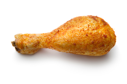 Chicken Meat「Poultry: Roast Chicken Drumstick Isolated on White Background」:スマホ壁紙(18)