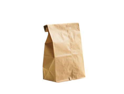 Lunch「Brown lunch bag on white background」:スマホ壁紙(13)