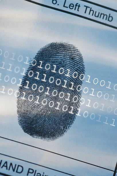 Computer code over thumbprint:スマホ壁紙(壁紙.com)
