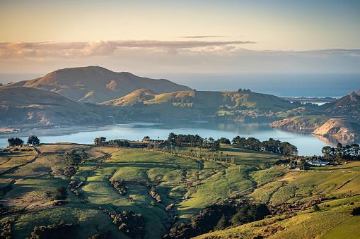 Rolling Landscape「Otago Peninsula and rolling hills and farmland, Dunedin, New Zealand」:スマホ壁紙(0)