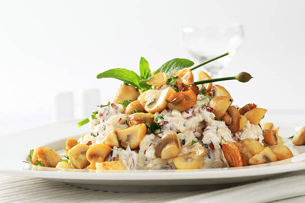 Rice salad and roasted mushrooms:スマホ壁紙(壁紙.com)