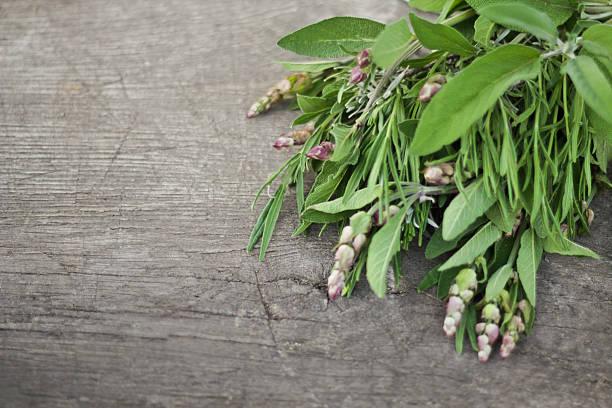 Fresh herbs on an old wooden table:スマホ壁紙(壁紙.com)