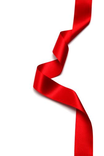 赤「ロングシルクレッドのリボンに、白背景」:スマホ壁紙(5)