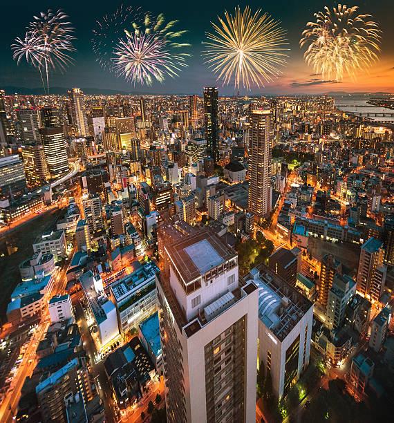 osaka aerial view on the night:スマホ壁紙(壁紙.com)